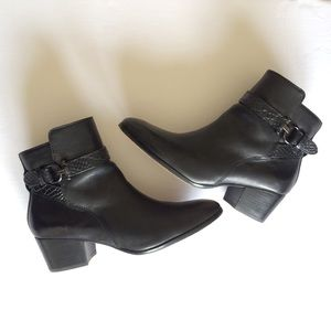 COACH Black Leather Buckle Ankle Boots, 8